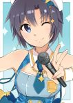>;) 1girl ;) antenna_hair armpits bare_shoulders beret black_hair blue_background blue_necktie cleavage_cutout closed_mouth fingernails hair_between_eyes hat head_tilt holding holding_microphone idol idolmaster idolmaster_platinum_stars kikuchi_makoto looking_at_viewer microphone necktie one_eye_closed outside_border short_hair short_necktie smile solo sparkle suzumo70 upper_body v w white_hat wing_collar