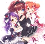 3girls :d ;d bangs black_dress black_legwear blue_eyes blush bow breasts brown_hair cleavage commentary_request detached_collar detached_sleeves double_bun dress fang flower frilled_dress frilled_sleeves frills hair_bow hand_on_another's_shoulder hat hat_flower kurosu_aroma long_hair long_sleeves looking_at_viewer medium_breasts mini_hat mini_top_hat mitsuba_choco multiple_girls one_eye_closed one_leg_raised open_mouth orange_hair petals ponytail pripara purple_hair rose shiratama_mikan shoes short_hair side_ponytail simple_background smile striped striped_legwear thigh-highs top_hat toudou_shion white_background yellow_eyes