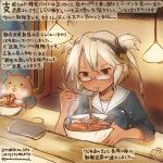 1girl alternate_costume breasts chopsticks commentary_request eating food glasses hamster kantai_collection kirisawa_juuzou large_breasts musashi_(kantai_collection) noodles ramen red_eyes school_uniform serafuku sweat traditional_media translation_request twitter_username white_sailor_collar