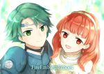 1boy 1girl alm_(fire_emblem) armor celica_(fire_emblem) circlet dress fire_emblem fire_emblem_echoes fire_emblem_echoes:_mou_hitori_no_eiyuuou green_eyes green_hair looking_at_viewer pauldrons redhead short_hair simple_background smile tiara