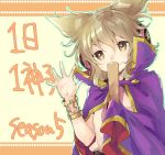 1girl bangs bracelet cape closed_mouth commentary_request earmuffs hair_between_eyes hand_up jewelry light_brown_eyes light_brown_hair looking_at_viewer makuwauri outstretched_hand pointy_hair ritual_baton short_hair smile solo touhou toyosatomimi_no_miko translation_request upper_body