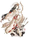 1girl arrow beads black_eyes black_hair bow_(weapon) bridal_gauntlets broken_arrow chinese_clothes circlet closed_mouth from_side goddess hair_ornament half_updo headpiece holding holding_weapon jewelry knot long_hair looking_at_viewer low-tied_long_hair miracle_nikki pants planted_arrow simple_background smile snow solo standing starshadowmagician tassel very_long_hair weapon white_background