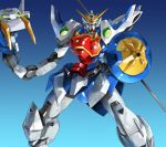 blue_background glaive glowing glowing_eyes gradient gradient_background gundam gundam_wing looking_at_viewer mecha no_humans polearm shenlong_gundam shield solo weapon yostxxx