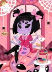 1girl black_hair boots doughnut fang fang_out frisk_(undertale) full_body heart looking_at_viewer monster_girl muffet pigtails short_hair tea tea_cup thigh_boots undertale