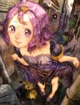 1girl acerola_(pokemon) alley alternate_footwear armlet bright_pupils building closed_mouth collarbone costume curtsey dress dress_lift drifloon elite_four eyelashes flat_chest gastly gengar hair_ornament highres leaning_forward lips looking_at_viewer mimikyu misdreavus pikachu_costume pokemon pokemon_(creature) pokemon_(game) pokemon_sm purple_hair purple_shoes shoes short_hair short_sleeves smile solo standing stitches topknot torn_clothes torn_dress torn_sleeves trash_can trial_captain violet_eyes zawaty