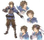 1boy adjusting_hair armor belt breastplate brown_eyes closed_eyes expressions fighter_(granblue_fantasy) gauntlets gran_(granblue_fantasy) granblue_fantasy hood hoodie male_focus natsuno_(natsuno_a1) petals simple_background smile sword weapon white_background