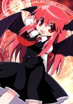 1girl bat_wings black_skirt black_vest dress_shirt head_wings juliet_sleeves koakuma long_hair long_sleeves magic_circle necktie open_mouth osaragi_mitama puffy_sleeves red_eyes redhead shirt sidelocks skirt skirt_set solo the_embodiment_of_scarlet_devil touhou very_long_hair vest wings