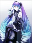 1girl anti_the_infinite_holic_(vocaloid) artist_request bare_shoulders collar detached_sleeves dress drill_hair frills gradient_hair hand_on_headphones hatsune_miku headphones legs_crossed looking_at_viewer necktie red_eyes smile solo source_request speaker stockings tagme tattoo thigh_highs very_long_hair vocaloid