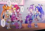 5girls ^_^ aida_mana blonde_hair blue_eyes blue_hair blush boots bow bracelet breasts chair choker cleavage closed_eyes commentary_request cure_ace cure_diamond cure_heart cure_rosetta cure_sword hishikawa_rikka jewelry kenzaki_makoto long_hair looking_at_another madoka_aguri magical_girl multiple_girls negom orange_hair pink_boots ponytail purple_hair purple_legwear red_eyes redhead short_hair side_ponytail sitting smile thigh-highs translation_request twintails wrist_cuffs yotsuba_alice