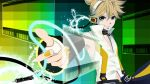 1boy append arm_out blonde_hair blue_eyes chocker detached_sleeves headphones kagamine_len nail_polish navel painted_nails short_hair smile solo tagme vocaloid wallpaper wire
