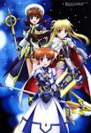 3girls :d absurdres bardiche black_gloves black_wings blonde_hair blue_eyes blush book boots brown_hair dress elbow_gloves fate_testarossa faulds fingerless_gloves gauntlets gloves hair_ornament hair_ribbon hat highres jacket juliet_sleeves long_hair long_sleeves looking_at_viewer lyrical_nanoha magical_girl mahou_shoujo_lyrical_nanoha_the_movie_3rd:_reflection megami multiple_girls multiple_wings official_art open_mouth outstretched_hand puffy_sleeves raising_heart red_eyes ribbon scan schwertkreuz shiny shiny_hair short_hair short_twintails sidelocks skirt smile staff sword takamachi_nanoha tome_of_the_night_sky twintails violet_eyes weapon wings x_hair_ornament yagami_hayate