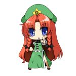 1girl blue_eyes blush_stickers bow braid chibi chinese_clothes eyebrows_visible_through_hair hair_bow hat hong_meiling long_hair looking_at_viewer musashino_udon neck_ribbon open_mouth pointing pointing_at_viewer puffy_short_sleeves puffy_sleeves redhead ribbon shoes short_sleeves side_slit solo star tangzhuang touhou twin_braids white_background