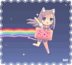 1girl animal_ears animal_tail animated_gif blue_eyes cat_ears cat_tail dav-19 grey_hair hairclip jingle_bell long_hair nyan_cat personification pixel_art poptart rainbow skirt solo tagme white_legwear