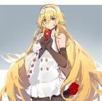 1girl black_legwear blonde_hair blue_background blue_eyes breasts brown_gloves buttons chinese_new_year closed_mouth cowboy_shot dress duke_of_york_(zhan_jian_shao_nyu) elbow_gloves english_flag envelope eyebrows_visible_through_hair flower gloves hair_between_eyes hair_down hair_flower hair_ornament hairband holding_envelope kishiyo lace_hairband legs_together long_hair long_sleeves looking_at_viewer messy_hair pantyhose pleated_skirt sideboob single_sleeve skirt smile solo standing thigh_gap two-tone_background very_long_hair white_background white_dress white_hairband white_skirt wide_sleeves zhan_jian_shao_nyu
