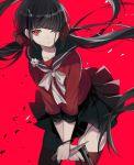 black_hair blsuh gun harukawa_maki long_hair new_danganronpa_v3 red_eyes seifuku