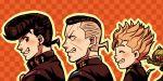 3boys anchor_symbol black_hair blonde_hair checkered checkered_background dollar_sign earrings echoes_(stand) facial_mark from_side gakuran grey_hair higashikata_jousuke hirose_kouichi io_(ike_ike) jewelry jojo_no_kimyou_na_bouken male_focus multicolored_hair multiple_boys nijimura_okuyasu pink_eyes pompadour school_uniform stand_(jojo) stud_earrings two-tone_hair