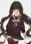 black_hair blush harukawa_maki long_hair new_danganronpa_v3 red_eyes seifuku twintails