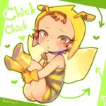 :< androgynous antennae bee bee_costume blush body_blush boots brown_hair chikurun child fairy gloves hood koro_(artist) looking_at_viewer mahou_girls_precure! precure short_hair solo strap_slip text wings yellow_eyes