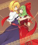 2girls alice_margatroid blonde_hair blue_eyes blush bow capelet dancing dress face-to-face frills from_side front_ponytail green_eyes green_hair hair_bow hair_ornament hair_ribbon hairband hand_holding highres kagiyama_hina long_hair looking_at_another multiple_girls profile ribbon short_hair smile tama_(soon32281) touhou yuri
