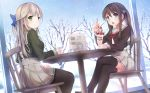 2girls artist_name bangs black_legwear blonde_hair blue_eyes blue_sky bow braid chair cherry cream cream_on_face cup day dutch_angle eating eyebrows_visible_through_hair ezoshika_gg food food_on_face fruit green_eyes hair_bow hair_ornament half_updo highres holding holding_cup long_hair long_sleeves looking_at_viewer menu multiple_girls open_mouth original pantyhose parfait pleated_skirt school_uniform serafuku shoes sidelocks sitting skirt sky smile snow snowing table thigh-highs tree twintails