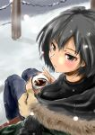 amagami black_eyes black_hair blush coat hot_chocolate looking_at_viewer looking_back looking_up murasaki_iro nanasaki_ai short_hair snow snowing