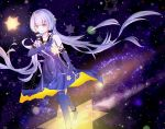 1girl bare_shoulders dress elbow_gloves long_hair looking_at_viewer orange_eyes purple_hair smile solo stardust_(vocaloid) stockings tagme thigh_highs
