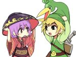 1boy 1girl belt blonde_hair bowl bowl_hat elf ezlo hat japanese_clothes kimono link long_sleeves obi object_on_head open_mouth pointy_ears purple_hair sash shield short_hair sukuna_shinmyoumaru sword the_legend_of_zelda the_legend_of_zelda:_the_minish_cap toon_link touhou trait_connection weapon wide_sleeves yudaoshan