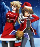 arms_behind_back blonde_hair bound brown_eyes brown_hair christmas happy holiday pink_ribbon ribbon sincity2100 snow tenjouin_asuka tied_up winged_kuriboh x-mas yu-gi-oh! yuuki_juudai