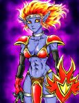 1girl armor bikini_armor breasts cleavage cosplay dragon_quest dragon_quest_iii dragon_quest_v flame_thrower genderswap genderswap_(mtf) monster soldier_(dq3) solo