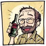 1boy alcohol balding beard beer bottle facial_hair glasses holding holding_bottle jack_baker lowres resident_evil resident_evil_7 setz smile