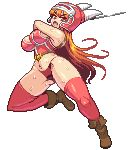 1girl ankle_boots armlet armor bare_shoulders belt boots breasts brown_boots brown_gloves brown_hair cleavage collarbone daisy_(dq) dragon_quest_yuusha_abel_densetsu full_body gloves helmet horned_helmet kneehighs long_hair looking_at_viewer lowres open_mouth orange_eyes panties pixel_art simple_background solo sword thigh-highs underwear weapon white_background yumurama