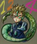 1boy blonde_hair echoes_(stand) facial_mark fusion gakuran green_eyes hirose_kouichi jojo_no_kimyou_na_bouken kokoharu male_focus multiple_tails school_uniform smile solo tail upper_body