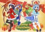 2girls :d alternate_costume antlers asymmetrical_wings bangs bell bell_choker belt black_hair black_legwear blue_dress blue_eyes blue_hair blush bow bowtie box breasts brown_shoes capelet choker christmas dress dress_tug full_body fur_trim gift gift_box hairband hat heterochromia houjuu_nue loafers long_sleeves looking_at_viewer medium_breasts merry_christmas multiple_girls open_mouth pantyhose petticoat polearm red_bow red_bowtie red_dress red_eyes red_shoes santa_costume santa_hat shoes short_hair smile snake standing tatara_kogasa thigh-highs touhou trident umigarasu_(kitsune1963) weapon white_legwear wings