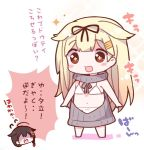 2girls :3 :d ahoge backless_outfit bangs bikini black_hair black_ribbon blonde_hair blush braid brown_eyes chibi dress eyebrows_visible_through_hair flying_sweatdrops full_body hair_flaps hair_ornament hair_ribbon hairclip halterneck kantai_collection long_hair multiple_girls open-back_dress open_mouth ribbed_sweater ribbon shaded_face shigure_(kantai_collection) simple_background smile sparkle speech_bubble standing star star-shaped_pupils sweater sweater_dress swimsuit symbol-shaped_pupils turtleneck turtleneck_sweater virgin_killer_sweater wardrobe_error watanohara white_background white_bikini you're_doing_it_wrong yuudachi_(kantai_collection)