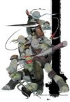 4boys ankle_wraps bald domino_mask donatello fighting_stance freckles green_skin highres katana knee_pads kusarigama leonardo looking_at_viewer mask michelangelo monster_boy multiple_boys puna_nezuki raphael sai_(weapon) sickle staff strap sword teenage_mutant_ninja_turtles turtle_shell weapon