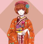 1girl aqua_nails bangs beret blue_nails blunt_bangs bowl_cut brown_eyes checkered colorful eyelashes fingernails flower_ornament hands_together hat japanese_clothes kimono light_smile lips long_sleeves looking_at_viewer nail_polish neoki_toroko obi redhead sash say_hello_to_bookila! sekawa_(krk) short_hair solo striped tassel traditional_clothes upper_body vertical_stripes wide_sleeves