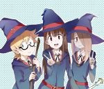 3girls absurdres akko_kagari blonde_hair broom brown_eyes brown_hair freckles glasses green_eyes hair_over_one_eye hat highres light_brown_hair little_witch_academia long_hair looking_at_viewer lotte_yanson multiple_girls open_mouth polka_dot polka_dot_background semi-rimless_glasses short_hair sishenfan sketch smile sucy_manbavaran under-rim_glasses upper_body v witch witch_hat
