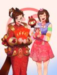 2girls alternate_costume brown_eyes brown_hair chinese_clothes closed_eyes d.va_(overwatch) dress glasses korean_clothes luna_mei mei_(overwatch) multiple_girls nail_polish open_mouth overwatch palanquin_d.va qosic smile snowball_(overwatch) whisker_markings