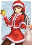 1girl amagami ayatsuji_tsukasa botamochi_(botamochi_art) brown_eyes brown_hair christmas cowboy_shot english gift hat long_hair looking_at_viewer pantyhose santa_hat solo