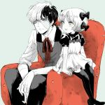1boy 1girl :d armchair bangs black_hair black_jack_(character) black_jack_(series) blue_background blush bowl_cut buttons chair collar collared_shirt dress eye_contact eyelashes fingernails full_body hair_ornament hair_ribbon hands_on_own_knees light_smile looking_at_another multicolored_hair no_shoes open_mouth pants pantyhose parted_bangs pinafore_dress pinoko puffy_short_sleeves puffy_sleeves ribbon scar sekawa_(krk) shirt short_hair short_sleeves simple_background sitting sleeves_folded_up smile spot_color stitches teeth two-tone_hair vest white_hair white_skin