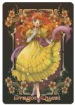 1girl art_nouveau breasts copyright_name dragon_quest dragon_quest_i dress elbow_gloves full_body gloves green_eyes jewelry long_hair necklace orange_hair princess princess_laura smile solo star tiara toniomi white_gloves yellow_dress