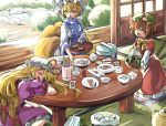 animal_ears baba_(baba_seimaijo) blonde_hair cat_ears chen commentary_request dishes dress food fox_tail hat hat_ribbon highres long_hair mob_cap multiple_tails pillow_hat purple_dress ribbon sleeping table tail touhou two_tails yakumo_ran yakumo_yukari