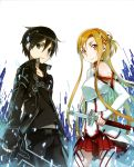 1boy 1girl abec absurdres asuna_(sao) black_gloves black_hair breastplate brown_eyes brown_hair collarbone detached_sleeves fingerless_gloves gloves green_eyes hair_between_eyes highres holding holding_sword holding_weapon kirito long_hair looking_at_viewer official_art pleated_skirt red_skirt short_hair skirt smile standing sword sword_art_online weapon