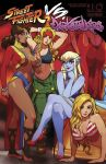 6+girls alex_(street_fighter) armpits arms_up ass asymmetrical_clothes bangle barefoot bikini blonde_hair blue_eyes blue_skin boots bracelet braid breasts brown_hair capcom china_dress chinese_clothes cleavage combat_boots cover cover_page crossover dark_skin demon_girl donovan_baine dress earrings facepaint fingernails front-tie_bikini front-tie_top greaves guile hair_over_one_eye hair_rings headband high_heels highleg highleg_panties highres hoop_earrings impossible_clothes jedah_dohma jewelry large_breasts legs_crossed lips lipstick long_fingernails looking_at_viewer makeup midnight_bliss midriff multiple_girls navel neck_ring official_art panties pelvic_curtain pointy_ears red_eyes red_shoes revealing_clothes robert_porter sharp_fingernails shoes sideboob sitting sports_bra stiletto_heels street_fighter street_fighter_vs._darkstalkers striped striped_bikini svc_chaos swimsuit thick_eyebrows toes udon_entertainment underwear vampire_(game)