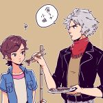 1boy 1girl brown_background brown_eyes brown_hair chopsticks classicaloid dramatica dumpling feeding food hair_ornament hairclip jacket jiaozi leather leather_jacket looking_at_another ludwig_van_beethoven_(classicaloid) otowa_kanae red_scarf scarf shirt short_hair short_sleeves silver_hair simple_background sweatdrop translation_request twitter_username x_hair_ornament yellow_shirt