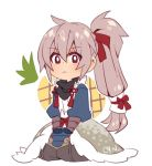 1boy chibi fire_emblem fire_emblem_if food fruit japanese_clothes male_focus pineapple ponytail silver_hair takumi_(fire_emblem_if)