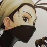 1girl antenna_hair brown_eyes brown_hair close-up covered_face face face_mask ibuki_(street_fighter) looking_at_viewer mask ninja omar_dogan simple_background solo street_fighter white_background