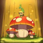 1boy :o black_eyes blonde_hair ezlo grass light link mushroom open_mouth pointy_ears the_legend_of_zelda the_legend_of_zelda:_the_minish_cap toon_link wusagi2