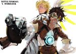 2boys back-to-back bodysuit bomber_jacket caesar_anthonio_zeppeli cosplay gloves goggles gun jacket jojo_no_kimyou_na_bouken joseph_joestar_(young) male_focus mercy_(overwatch) mercy_(overwatch)_(cosplay) multiple_boys orange_bodysuit overwatch robu_(shatr1990) tracer_(overwatch) tracer_(overwatch)_(cosplay) weapon