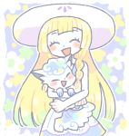 1girl alola_form alolan_vulpix blonde_hair braid closed_eyes dress hat highres holding lillie_(pokemon) long_hair open_mouth pokemon pokemon_(anime) pokemon_(creature) pokemon_(game) pokemon_sm pokemon_sm_(anime) remoooon sleeveless sleeveless_dress sun_hat twin_braids white_dress white_hat